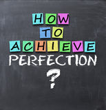 How to achieve perfection question on blackboard with adhesive notes Stock Images