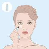 How to apply a concealer. Vector illustration. Woman's face and hand with concealer pen . Contour map. Makeup artist apply contour on the face of the girl Royalty Free Stock Photography