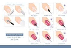 Free How To Apply Gel Polish Step By Step. Professional Manicure Tutorial. Vector Royalty Free Stock Photo - 170432455
