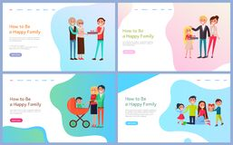 How to Be Happy Family Set with Parents and Kids vector illustration