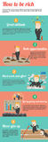 How to be rich infographic template design with sample text layo. Ut, create by vector Stock Photo