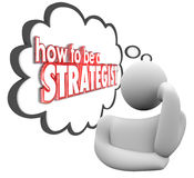 How to Be a Strategist Thinker Thought Cloud Plan vector illustration