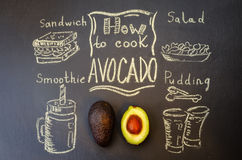 How to cook avocado with avocado. On the chalkboard. toning. selective Focus Royalty Free Stock Photography