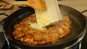 How to cook Korean cuisine Dak galbi step 5 stock video footage