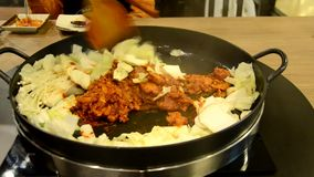 How to cook Korean Dak galbi step 2 stock video footage