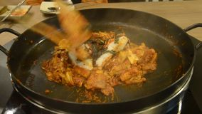 How to cook Korean Dak galbi step 4 stock footage
