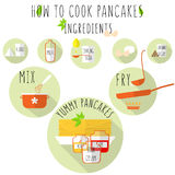 How to cook pancakes recipe, flat style with long shadow. stock vector Royalty Free Stock Photos