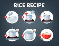 How to cook rice with few ingredients easy recipe. Instruction on rice making process for breakfast. Hot bowl with tasty food. Isolated flat vector stock illustration