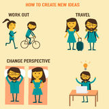 How to create new ideas vector work out, travel,change perspecti Stock Images