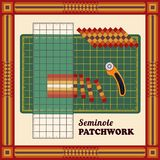 Patchwork, Traditional DIY Seminole Strip Piece Design and Pattern Frame, Cutting Mat, Quilters Ruler, Rotary Blade Cutter royalty free illustration
