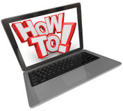 How To 3D Words Laptop Computer Finding Instructions Online Webs. The words How To on a laptop computer screen to illustrate finding a solution to problem or Royalty Free Stock Photo