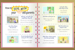 How to deal with your old parents father and mother cartoon info Royalty Free Stock Photo