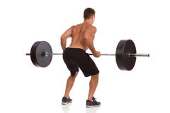 How To Do A Barbell Row. Rear View Stock Image