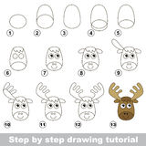 How to draw a Funny Elk. Visual game for kids. How to draw a Funny Elk Royalty Free Stock Photos