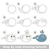 How to draw a Funny Whale. Visual game for kids. How to draw a Funny Whale royalty free illustration