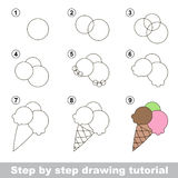 How to draw a Ice-cream. Visual game for kids. How to draw a Ice-cream Stock Photos