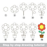 How to draw a Pot Flower Stock Photography