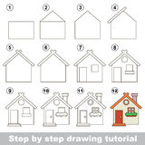 How to draw a Toy House. Visual game for kids. How to draw a Toy House Royalty Free Stock Photography