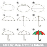 How to draw a Umbrella. Visual game for kids. How to draw a Umbrella Royalty Free Stock Image
