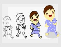 How to drawing the baby with pajamas. Boy,people,draw,baby,pajamas Stock Images
