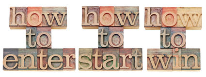 How to enter, start and win. Collage of isolated text in vintage letterpress wood type stained by color inks stock images