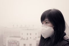 Air pollution thinking. Asian girl wearing mouth mask against haze air pollution in beijing Royalty Free Stock Photo