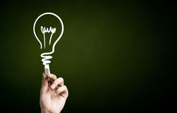 How to find good idea. Human hand darwing light bulb as idea concept with chalk stock photography