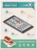 How to find your perfect home infographic. Residential area on a smartphone and icons; real estate, technology and augmented reality concept Royalty Free Stock Images