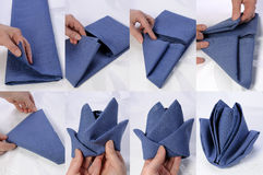 How to fold a napkin. Step by step instructions on how to fold a napkin in the form of a rose bud Royalty Free Stock Photos