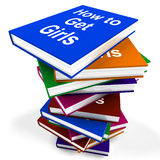 How To Get Girls Book Stack Shows Improved Stock Image