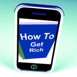 How to Get Rich on Phone Represents Getting Wealthy Stock Images