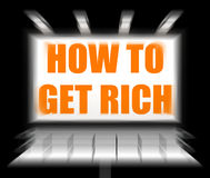 How To Get Rich Sign Displays Self help and Financial Advice Stock Image