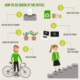 How to go green at the office infographics Royalty Free Stock Photos