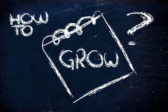How to grow, message on memo on blackboard Stock Photo