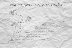 How to grow your following, man running on steps Royalty Free Stock Images
