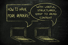 How to have more readers?useful, structured, easy-to-read conten. Computer conversation about blogging advice: useful readable content Royalty Free Stock Image