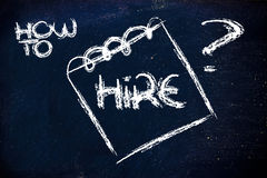 How to hire, message on memo on blackboard Stock Images