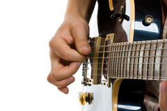 How to hold guitar pick Stock Photography