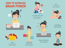 How to increase brain power infographic,illustration. How to increase brain power infographic,vector illustration Royalty Free Stock Photos