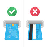 How to insert credit card in atm. vector illustration