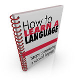 How to Learn a New Language Book Manual. Instruction guide to teach you how to speak a foreign dialect stock illustration