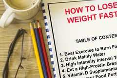 How to lose weight fast concept. Complete with topics related to burning fat Royalty Free Stock Photo
