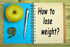 How to lose weight?. On notebook royalty free stock images