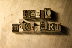How to make art - Metal letterpress lettering sign Royalty Free Stock Photos