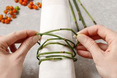 How to make autumn napkin ring with rowan berry - tutorial. Step by step royalty free stock photo