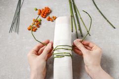 How to make autumn napkin ring with rowan berry - tutorial. Step by step stock image