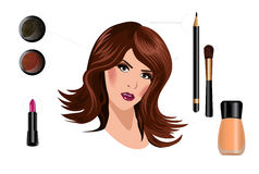 How to make a beautiful woman with makeup Stock Images