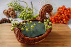 How to make bouquet of flowers in wicker goose. Stock Photography