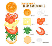 How To Make Burgers and Sandwiches Poster. Vector Stock Photography