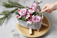 How to make christmas table decoration in heart shape. Tutorial How to make christmas table decoration in heart shape royalty free stock photo